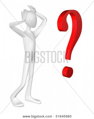 Man and question mark isolated on white background.