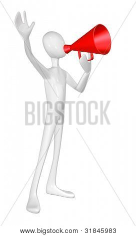 Man with red megaphone isolated on white background.