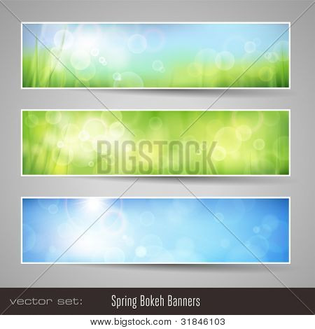nature bokeh banners - three soft seasonal banners with grass and blue sky poster