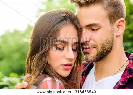 Man Hipster And Pretty Woman In Love. Summer Vacation. Fall In Love. Pure Feelings. Enjoying Intimac
