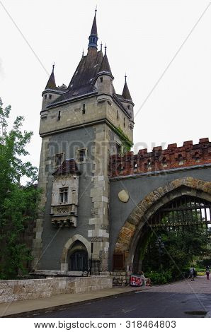 Budapest, Hungary - May 19, 2010:  Vajdahunyad Castle (vajdahunyad Vara) Is Castle In City Park Of B