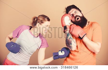 Couple Girl And Hipster Practicing Boxing. Sport For Everyone. Amateur Boxing Club. Equal Possibilit
