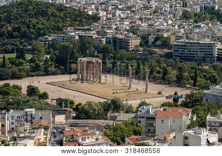 Panoramic Aerial View Of The Temple Of Olympian Zeus, Athens, Greece