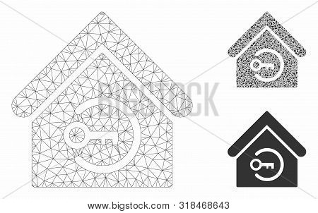 Mesh Home Login Model With Triangle Mosaic Icon. Wire Frame Triangular Mesh Of Home Login. Vector Mo