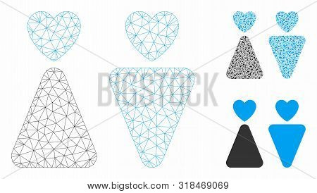 Mesh Lovers Model With Triangle Mosaic Icon. Wire Frame Triangular Mesh Of Lovers. Vector Compositio