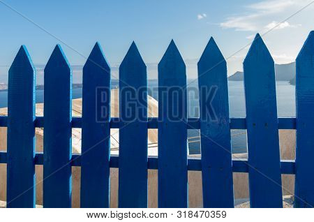 Santorini Typical Blue Painted Details In The City Of Oia, Greece, Wooden Fence