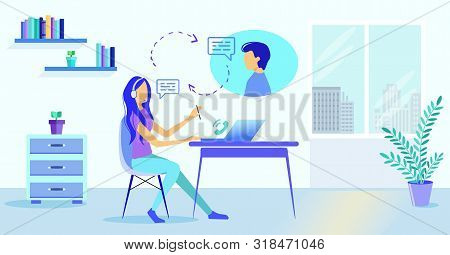 Cartoon Girl In Headset Microphone Help Man Customer Vector Illustration. Online Helpline Helpdesk H