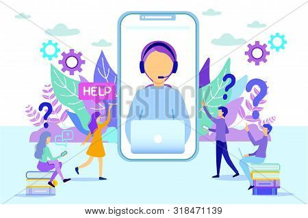 Cartoon Hotline Female Operator On Phone Screen Vector Illustration. Woman Consulting People. Client