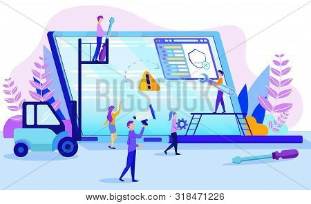 Broken Notebook Repair Concept. Man With Screwdriver Wrench Tool, Woman Client Vector Illustration.