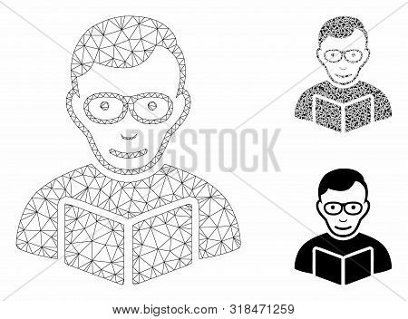 Mesh Reader Model With Triangle Mosaic Icon. Wire Carcass Polygonal Mesh Of Reader. Vector Mosaic Of