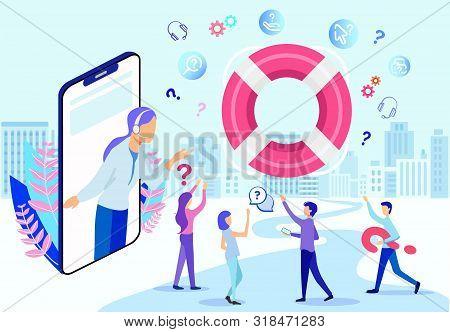 Cartoon Hotline Female Operator On Phone Screen Vector Illustration. People Lifebuoy Help. Woman Ass
