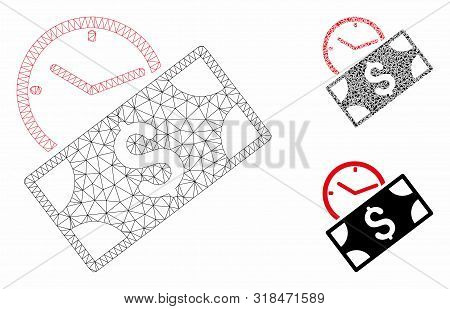 Mesh Rent Recurring Payment Model With Triangle Mosaic Icon. Wire Frame Polygonal Mesh Of Rent Recur