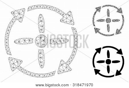 Mesh Rotor Model With Triangle Mosaic Icon. Wire Frame Polygonal Mesh Of Rotor. Vector Composition O