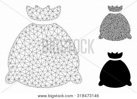Mesh Sack Bag Model With Triangle Mosaic Icon. Wire Carcass Triangular Mesh Of Sack Bag. Vector Mosa