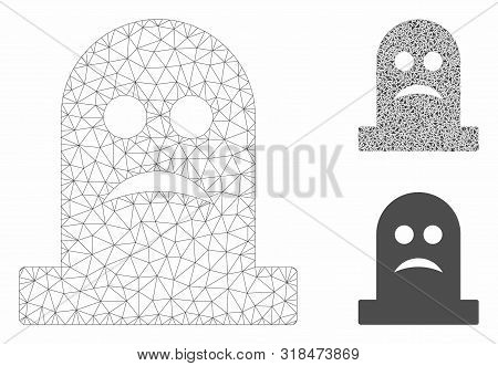 Mesh Sad Tomb Model With Triangle Mosaic Icon. Wire Carcass Polygonal Mesh Of Sad Tomb. Vector Compo