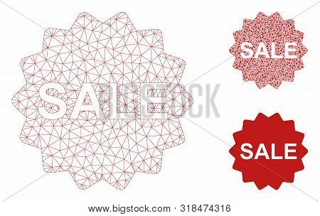 Mesh Sale Token Model With Triangle Mosaic Icon. Wire Carcass Polygonal Mesh Of Sale Token. Vector M
