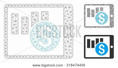Mesh Sales Chart On Pda Model With Triangle Mosaic Icon. Wire Frame Triangular Mesh Of Sales Chart O
