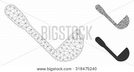 Mesh Scoop Model With Triangle Mosaic Icon. Wire Carcass Triangular Mesh Of Scoop. Vector Mosaic Of