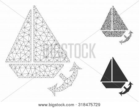 Mesh Seaport Model With Triangle Mosaic Icon. Wire Carcass Polygonal Mesh Of Seaport. Vector Mosaic