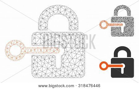 Mesh Secrecy Model With Triangle Mosaic Icon. Wire Frame Polygonal Mesh Of Secrecy. Vector Mosaic Of