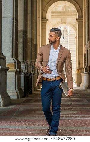 Man Street Fashion.young East Indian American Businessman Traveling, Working In New York City, Weari