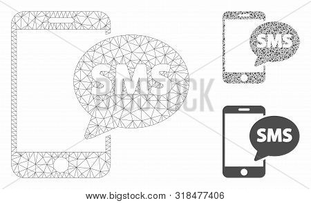 Mesh Send Phone Sms Model With Triangle Mosaic Icon. Wire Frame Polygonal Mesh Of Send Phone Sms. Ve