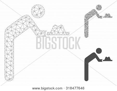 Mesh servant with hat model with triangle mosaic icon. Wire frame polygonal mesh of servant with hat. Vector mosaic of triangle parts in variable sizes, and color tones. poster