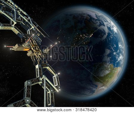 Space Station Colony As A Honeycomb Geodesic Mega Structure In Near-earth Orbit, For Space Explorati