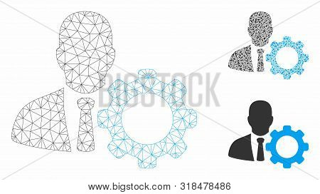 Mesh Serviceman Model With Triangle Mosaic Icon. Wire Carcass Polygonal Mesh Of Serviceman. Vector C