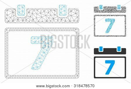 Mesh Seventh Day Model With Triangle Mosaic Icon. Wire Carcass Polygonal Mesh Of Seventh Day. Vector