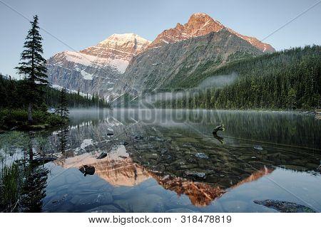 Sunrise In Cavell Lake Of Jasper National Park