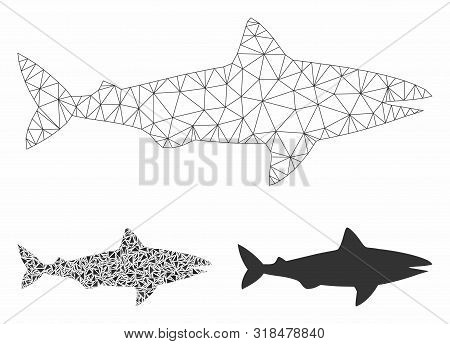Mesh Shark Model With Triangle Mosaic Icon. Wire Carcass Polygonal Network Of Shark. Vector Mosaic O