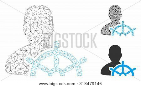 Mesh Ship Captain Model With Triangle Mosaic Icon. Wire Frame Polygonal Mesh Of Ship Captain. Vector