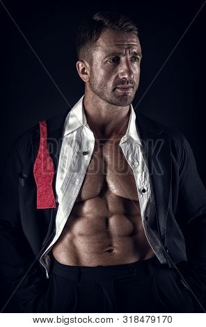 Perfect Six Pack. Macho Man With Muscular Body. Athletic Body. Male Fashion And Charisma. Brutal Sex