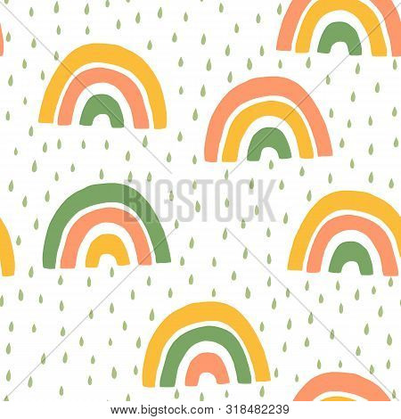 Hand Drawn Baby Cute Rainbow And Rain Seamless Pattern. Simple Vector Background In Scandinavian Sty