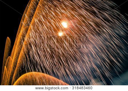 Fireworks Shot With Long Exposure To Reveal Ligh Trails