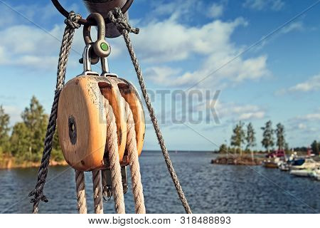 A Detail Of The Rigging Of An Old Galeas At The Fishing Harbour Of Kalajoki, Finland. The Galeas Is