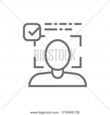 Person Identified, Face Identification Line Icon. Isolated On White Background