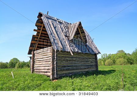 wooden rural house on green field