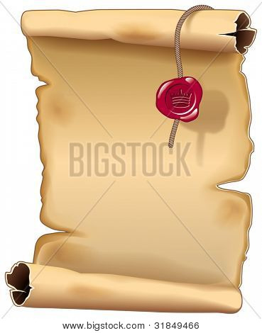 Ancient parchment scroll with a king seal. Vector illustration (EPS v.10)