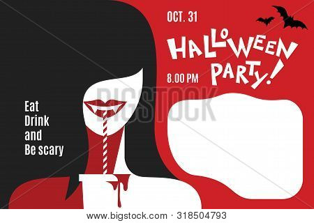 Silhouette Woman In Halloween Vampire Costume On Party. Girl With Cocktail. Halloween Party Invitati