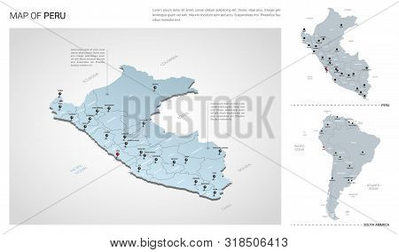Vector Set Of Peru Country.  Isometric 3d Map, Peru Map, South America Map - With Region, State Name