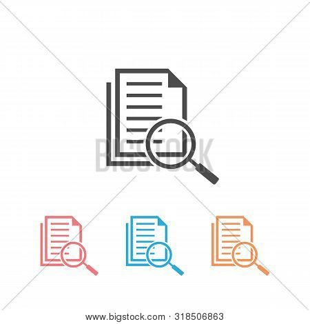 Scrutiny Document Plan Icon Set In Flat Style. Review Statement Vector Illustration On White Isolate