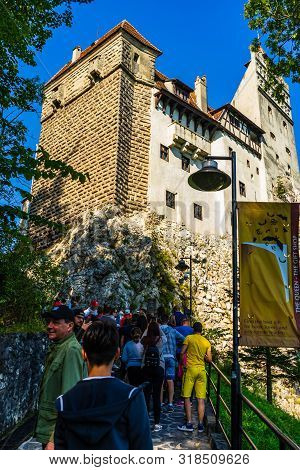 Bran, Romania – 2019. Bran Castle (castelul Bran). Legendary Historical Castle Of Dracula In Transyl