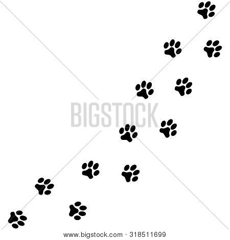 Prints Paws Dog Graphic Icons. Traces Dog Isolated On White Background. Footprints Animal. Vector Il