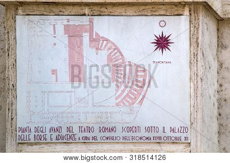 Milan, Italy - June 28, 2019: Marble Plaque Outside The Milan Stock Exchange Palace, In Piazza Degli