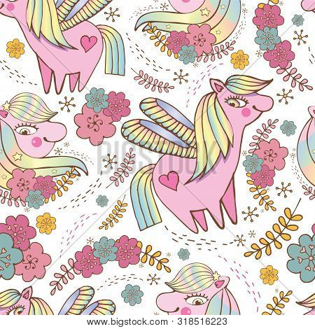 Children S Seamless Vector Pattern. Cute, Happy Pink Ponies Among Stars And Flowers On White Backgro