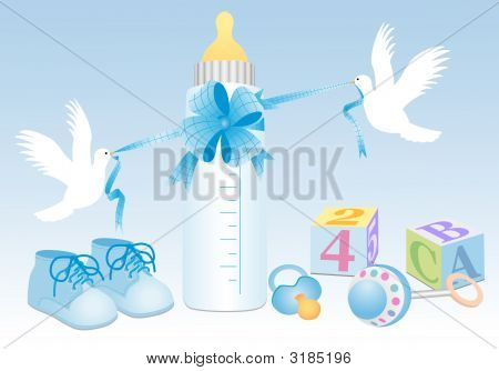 Baby boy accessories with toys and flying doves poster
