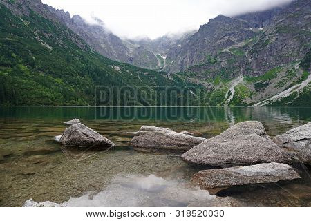 Majestic Mountain Lake With Clear Blue-green Water. Spectacular Views Of Mountains. View Of Mountain