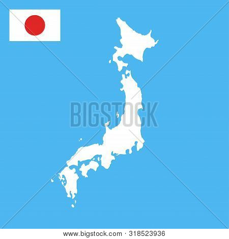 Japan Map And Flag Color Illustration Vector